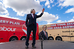 Glasgow, Scotland, UK. 5 May 2021. Scottish Labour Leader Anas Sarwar and former Prime Minister Gordon Brown appear at an eve of polls drive-in campaign rally in Glasgow today. Gordon brown speech.   Iain Masterton/Alamy Live News