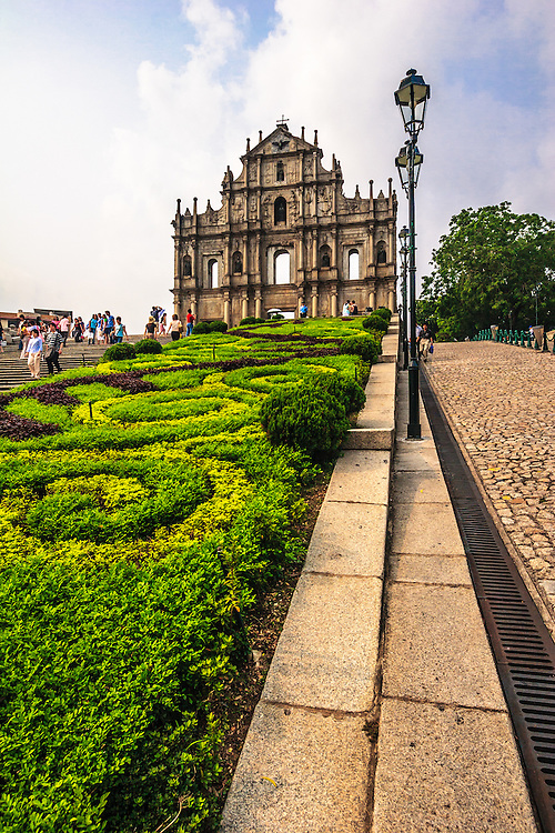 The Ruins of St. Paul's in Macau, China.  The Ruins of St. Paul's, Ruínas de São Paulo, is a 17th-century Portuguese cathedral that typhoon destroyed in 1835.