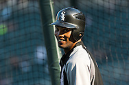 Chicago White Sox shortstop Alexei Ramirez smiles during batting practice before a game against the Minnesota Twins on June 25, 2012 at Target Field in Minneapolis, Minnesota.  The Twins defeated the White Sox 4 to 1.  © 2012 Ben Krause