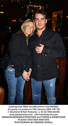 Leading chef TONY ALLAN and his wife DENISE, at a party in London on 12th January 2004.PPT 28