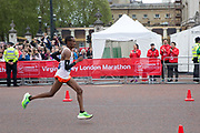 Mule Wasihun of Ethiopia during the elite mens race on The Mall during The Virgin London Marathon on 28th April 2019 in London in the United Kingdom. Now in it's 39th year The London Marathon is a large sporting event with over 40,000 runners expected to take part.