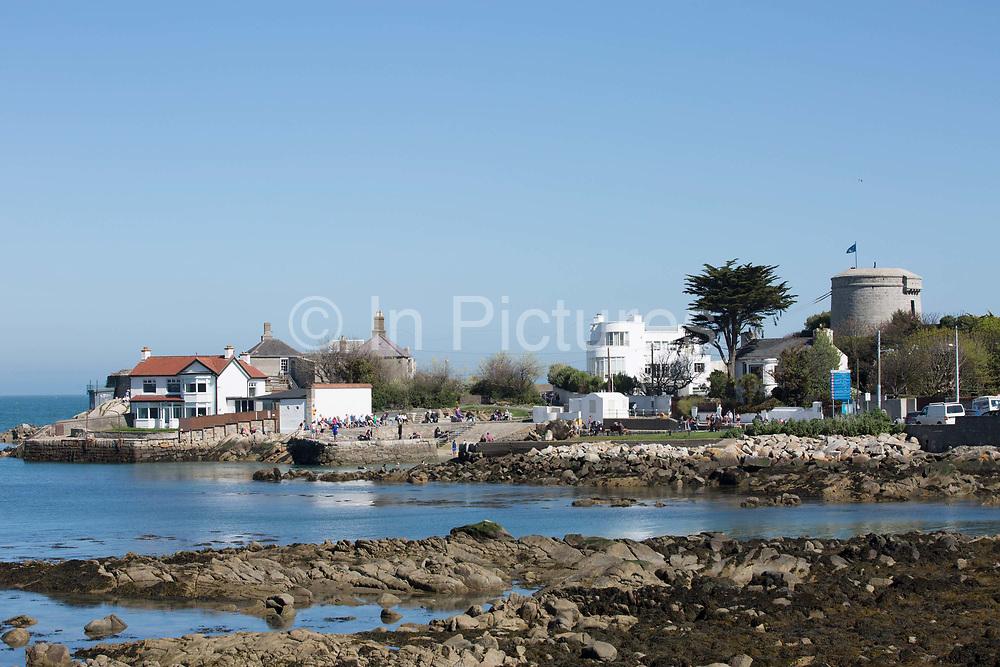 Sandycove Beach on 08th April 2017 in County Dublin, Republic of Ireland. Sandycove is a popular seaside resort in County Dublin