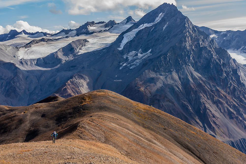 Wade Simmons rides down a previously untouched slope in the Tatshenshini-Alsek Provincial Park in British Columbia, Canada on September 4, 2016.