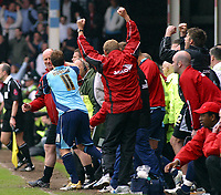 Photo: Dave Linney.<br />Walsall v Barnsley. Coca Cola League 1. 06/05/2006Barnsley Boss Andy Ritchie(L) celebrates at the final whistle.