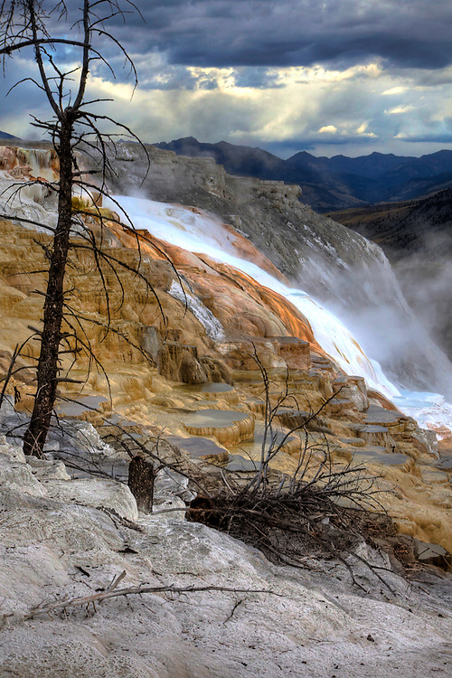 Cascade of mineral deposits and travertine from Canary Spring in the Upper Terrace of Mammoth Hot Springs, Yellowstone National Park, Wyoming.