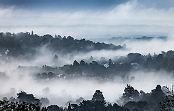 © Licensed to London News Pictures. 16/10/2020. Dorking, UK. Fog envelopes the hills around Dorking in Surrey. Low temperatures and fog have hit parts of the United Kingdom this morning. Photo credit: Peter Macdiarmid/LNP