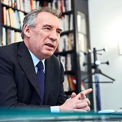 """Paris, France. January 25, 2017. François Bayrou, head of the political mouvement """"Modem"""" (""""Mouvement Democrate""""), at his party's headquarter. Photo: Antoine Doyen"""