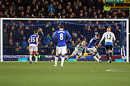 Ross Barkley of Everton scores his teams 2nd goal from the penalty spot.. Barclays Premier League match, Everton v Newcastle United at Goodison Park in Liverpool on Wednesday 3rd February 2016.<br /> pic by Chris Stading, Andrew Orchard sports photography.