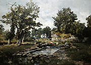 Douarnenez: The Washing Place - Morning', 1883.  Oil on canvas.  Emmanuel Lansyer (1835-1893) French landscape painter.  France Brittany Women Laundry Tank Water Tree Wooded Ruin Fortress Tower