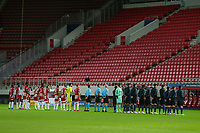 PIRAEUS, GREECE - NOVEMBER 25: Line-ups prior to the UEFA Champions League Group C stage match between Olympiacos FC and Manchester City at Karaiskakis Stadium on November 25, 2020 in Piraeus, Greece. (Photo by MB Media)
