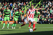 Luke Varney takes the penalty during the EFL Sky Bet League 2 match between Forest Green Rovers and Cheltenham Town at the New Lawn, Forest Green, United Kingdom on 20 October 2018.