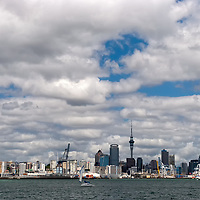 Auckland is the largest metropolitan city in New Zealand. In the background you can see the Skytower and the Centre Business District.