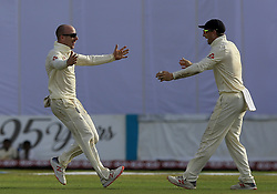 November 7, 2018 - Galle, Sri Lanka - England cricketer Jack Leach celebrates with Jos Butler after taking a wicket during the 2nd day's play of the first test cricket match between Sri Lanka and England at Galle International cricket stadium, Galle, Sri Lanka. 11-07-2018  (Credit Image: © Tharaka Basnayaka/NurPhoto via ZUMA Press)