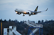 A Boeing 767 arrives at Boeing Field ferrying parcels for UPS. <br /> <br /> Dean Rutz / The Seattle Times