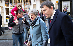 © Licensed to London News Pictures. 04/03/2019. Salisbury, UK. Prime Minister Theresa May visits Salisbury with local MP John Glen (R) on the first anniversary of the poisoning of former Russian spy Sergei Skripal and his daughter Yulia in March 2018. They both survived the nerve agent attack but a resident of nearby Amesbury, Dawn Sturgess, died in June 2018 after coming in contact with the poison. Two Russians have been named in connection with the attack. Photo credit: Peter Macdiarmid/LNP