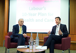 Andy Burnham MP, Labour's Shadow Health Secretary launches Labour's 10-year plan for health and social care services<br /> 27th January 2015 at The King's Fund, London, Great Britain <br /> Chris Ham - Kings Fund CEO <br /> Andy Burnham <br /> <br /> <br /> <br /> Photograph by Elliott Franks <br /> Image licensed to Elliott Franks Photography Services