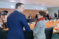 04 MAR 2020, BERLIN/GERMANY:<br /> Jens Spahn (L), CDU, Bundesgesundheitsminister, und Annegret Kramp-Karrenbauer (R), CDU, Bundesverteidigungsministerin, im Gespraech, vor Beginn der Kabinettsitzung, Bundeskanzleramt<br /> IMAGE: 20200304-01-013<br /> KEYWORDS: Kabinett, Sitzung, Gespäch