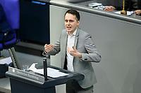 08 DEC 2020, BERLIN/GERMANY:<br /> Sven-Christian Kindler, MdB, B90/Gruene, Haushaltsdebatte, Plenum, Reichstagsgebaeude, Deuscher Bundestag<br /> IMAGE: 20201208-02-031<br /> KEYWORDS: Rede