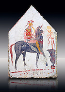 Lucanian fresco tomb painting of a soldier on a horse. Paestrum, Andriuolo. Tomb 58 ( 330-320 BC ) .<br /> <br /> If you prefer to buy from our ALAMY PHOTO LIBRARY  Collection visit : https://www.alamy.com/portfolio/paul-williams-funkystock - Scroll down and type - Paestum Fresco - into LOWER search box. {TIP - Refine search by adding a background colour as well}.<br /> <br /> Visit our ANCIENT GREEKS PHOTO COLLECTIONS for more photos to download or buy as wall art prints https://funkystock.photoshelter.com/gallery-collection/Ancient-Greeks-Art-Artefacts-Antiquities-Historic-Sites/C00004CnMmq_Xllw