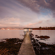Bellerive Pier at dawn with Hobart in background