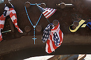Devotional objects placed in memory of those lost in 9/11