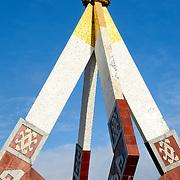 The main part of the diamond-shaped Independence Monument in downtown Sam Neua (also spelled Samneua, Xamneua and Xam Neua) in northeastern Laos.