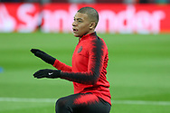 Kylian Mbappe of Paris Saint-Germain warm up during the Champions League Round of 16 2nd leg match between Paris Saint-Germain and Manchester United at Parc des Princes, Paris, France on 6 March 2019.