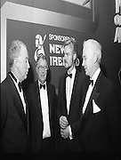 "People Of The Year Awards.1984..26.11.1984..11.26.1984..26th November 1984..The Tanaiste and Minister For Energy,Mr Dick Spring, presented a silver medallion and a scroll to eight men and one woman who were deemed to be ""People of the Year""..The nine were selected by a panel of media editors.The awards were sponsored by New Ireland Assurance,Plc and presented at The Burlington Hotel,Dublin.The winners were:..Mr John Bermingham for his work in rehabilitating the physically and mentally handicapped..Ms Maeve Calthorpe for inspired work with the blind and visually impaired..Mr John Hume for his contribution to peace,democracy and the new Ireland Forum..Mr Patrick O'Connell, for fortitude in the face of grave illness and for fund raising..Drs Prem Puri and Barry O'Donnell,for their contribution to Medical Science..Mr Michael O'Hehir, for his contribution to broadcasting..Mr Fergal Quinn, for dynamic management in the public and private sectors..The special adjudicators award was given to Mr John Parker for his work in revitalising Harland and Wolff shipyard...Image shows Mr Kevin O'Donnell,(right), Managing Director,New Ireland Assurance,Plc chatting with three of the award winners,Dr Barry O'Donnell,Mr John Bermingham and Mr Patrick O'Connell."