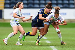 Garnet Mackinder of Saracens Ladies is tackled by Zoe Bennion of Worcester Valkyries  - Mandatory by-line: Craig Thomas/JMP - 30/09/2017 - RUGBY - Sixways Stadium - Worcester, England - Worcester Valkyries v Saracens Women - Tyrrells Premier 15s