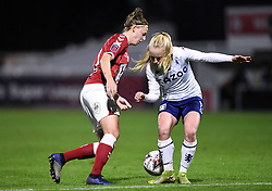 Yana Daniels of Bristol City Women is challenged by Caroline Siems of Aston Villa Women - Mandatory by-line: Ryan Hiscott/JMP - 13/01/2021 - FOOTBALL - Twerton Park - Bath, England - Bristol City Women v Aston Villa Women - FA Continental Cup quarter final