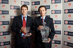 CARDIFF, WALES - Tuesday, October 7, 2008: Wales' FAW Young Player of the Year Chris Gunter and FAW Player of the Year Simon Davies with their awards at the Brains Beer Wales Football Awards at the Millennium Stadium. (Photo by David Rawcliffe/Propaganda)