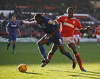 Birmingham City's Clayton Donaldson (L) and Nottingham Forest's Michail Antonio in action during todays match  <br /> <br /> Photographer Jack Phillips/CameraSport<br /> <br /> Football - The Football League Sky Bet Championship - Nottingham Forest v Birmingham City - Saturday 28th December - The City Ground - Nottingham<br /> <br /> © CameraSport - 43 Linden Ave. Countesthorpe. Leicester. England. LE8 5PG - Tel: +44 (0) 116 277 4147 - admin@camerasport.com - www.camerasport.com