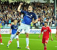 Fotball Herrer UEFA Europa League 2013<br /> Marienlyst Stadion Gamle Gress  18.07.2013<br /> <br /> Strømsgodset vs Debrecen<br /> <br /> Resultat 2 - 2<br /> <br /> Foto: Robert Christensen Digitalsport<br /> <br /> Strømsgodset Målscorer Jørgen Horn jubler , bak Peter Kovacs