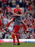 Photo: Glyn Thomas.<br />Chelsea v Liverpool. The FA Cup, Semi-Final. 22/04/2006.<br />Liverpool's Steven Gerrard celebrates reaching the final.