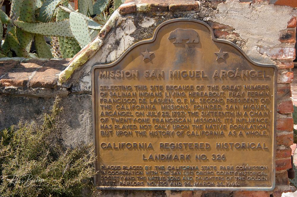 California historical landmark plaque at Mission San Miguel Archangel (16th Mission-1797), San Miguel, California