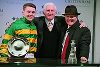 National Hunt Horse Racing - 2019 Cheltenham Festival - Friday, Day Four (Gold Cup Day)<br /> <br /> Jonjo O'Neill Jr. on Early doors with Martin Pipe and  his Father after winning in the 17.30 Martin Pipe Condtional Jockeys' handicap hurdle race at Cheltenham Racecourse.<br /> <br /> COLORSPORT/ANDREW COWIE