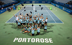 Ball boys and winner Aljaz Bedene after the Final match at Day 10 of ATP Challenger Zavarovalnica Sava Slovenia Open 2019, on August 18, 2019 in Sports centre, Portoroz/Portorose, Slovenia. Photo by Vid Ponikvar / Sportida