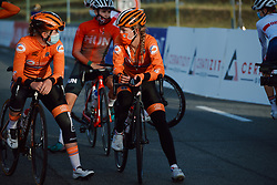 Karlijn Swinkels (NED) chats before the 2020 UEC Road European Championships - Under 23 Women Road Race, a 81.9 km road race in Plouay, France on August 26, 2020. Photo by Sean Robinson/velofocus.com