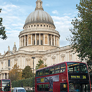The iconic dome of St Paul's Cathedral in London, England, towers above the London buses below.