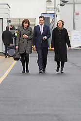 © Licensed to London News Pictures . 28/01/2013 . Manchester , UK . L-R Alison Munro (Chief Executive HS2 Ltd) , George Osborne (the British Chancellor of the Exchequer and MP for Tatton) and Dyan Crowther (MD Network Rail North West route) , at Manchester Piccadilly Train Station today (28th January 2013) as the government are due to reveal the proposed route for HS2 rail , linking Manchester , Leeds and Birmingham to London . Photo credit : Joel Goodman/LNP