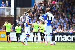 Tom Nichols of Bristol Rovers and Chris Lines of Bristol Rovers cut dejected figures as they go 0-1 down - Mandatory by-line: Dougie Allward/JMP - 12/08/2017 - FOOTBALL - Memorial Stadium - Bristol, England - Bristol Rovers v Peterborough United - Sky Bet League One