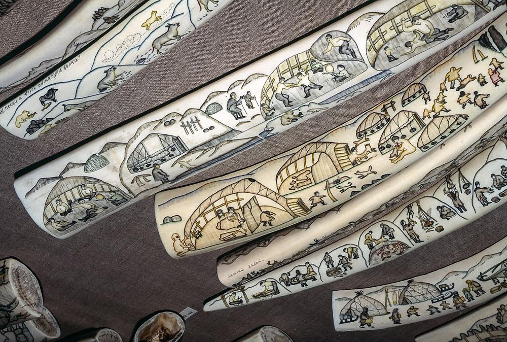 Ivory artwork, Uelen Art Studio, Village of Uelen, Chukotsk Peninsula, Northeast Russia, 1992