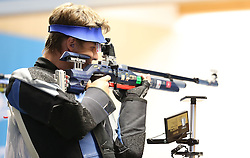 05.09.2015, Olympia Schiessanlage Hochbrueck, Muenchen, GER, ISSF World Cup 2015, Gewehr, Pistole, Herren, 10 Meter Luftgewehr, im Bild Nazar Louginets (RUS) // during the men's 10M air rifle competition of the 2015 ISSF World Cup at the Olympia Schiessanlage Hochbrueck in Muenchen, Germany on 2015/09/05. EXPA Pictures © 2015, PhotoCredit: EXPA/ Eibner-Pressefoto/ Wuest<br /> <br /> *****ATTENTION - OUT of GER*****