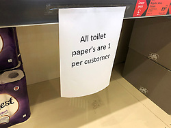 © Licensed to London News Pictures. 13/03/2020. Leeds UK. ALDI LEEDS. Empty Toilet Roll shelves at ALDI in the Seacroft area of Leeds this morning as people continue to panic buy in fear of quarantine measures and shortages as the current Coronavirus ( COVID-19 ) spread starts to impact more people. Photo credit: Andrew McCaren/LNP