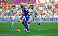 Ashley Williams the Swansea City Captain marks Arouna Kone of Everton in the second half.<br /> Barclays Premier League match, Swansea city v Everton at the Liberty Stadium in Swansea, South Wales on Saturday 19th September 2015.<br /> pic by Phil Rees, Andrew Orchard sports photography.