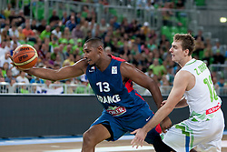 Boris Diaq of France and Zoran Dragic of Slovenia during last friendly match before Eurobasket 2013 between National teams of Slovenia and France on August 31, 2013 in SRC Stozice, Ljubljana, Slovenia. (Photo by Urban Urbanc / Sportida.com)