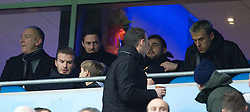 MANCHESTER, ENGLAND - Sunday, January 8, 2012: Former Manchester United player David Beckham and Everton captain Phil Neville in the stands before the FA Cup 3rd Round match between Manchester City and Manchester United at the City of Manchester Stadium. (Pic by Vegard Grott/Propaganda)