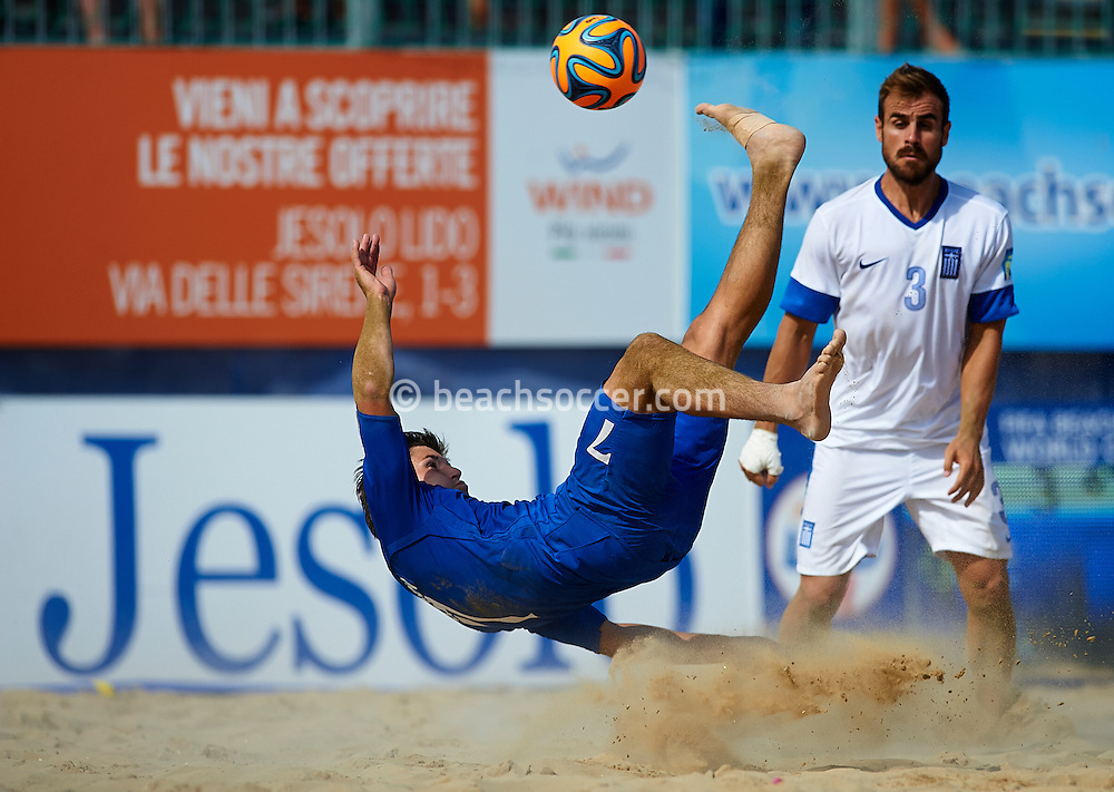 JESOLO, ITALY- SEPTEMBER 06: FIFA Beach Soccer Qualifier Europe World Cup 2015 at Spiaggia del Faro on September 06, 2015 in Jesolo, Italy. (Photo by Manuel Queimadelos)