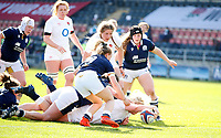 Caption Template Rugby Union - 2021 Women Six Nations - Pool A - England vs Scotland - Castle Park, Doncaster<br /> <br /> Bryony Cleall of England scores a try at Castle Park <br /> <br /> Credit COLORSPORT/LYNNE CAMERON