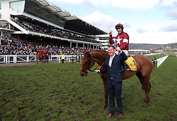 Balko Des Flos and Davy Russell celebrate winning the Ryanair Chase during St Patrick's Thursday of the 2018 Cheltenham Festival at Cheltenham Racecourse. PRESS ASSOCIATION Photo. Picture date: Thursday March 15, 2018. See PA story RACING Cheltenham. Photo credit should read: David Davies/PA Wire. RESTRICTIONS: Editorial Use only, commercial use is subject to prior permission from The Jockey Club/Cheltenham Racecourse.